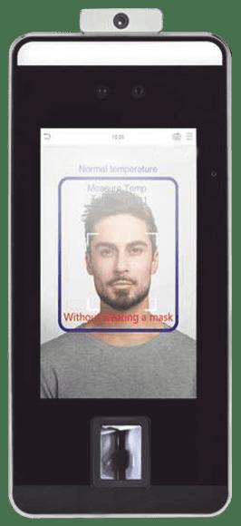 Terminal de reconocimiento facial y deteccion de temperatura con verificación de uso de cubrebocas
